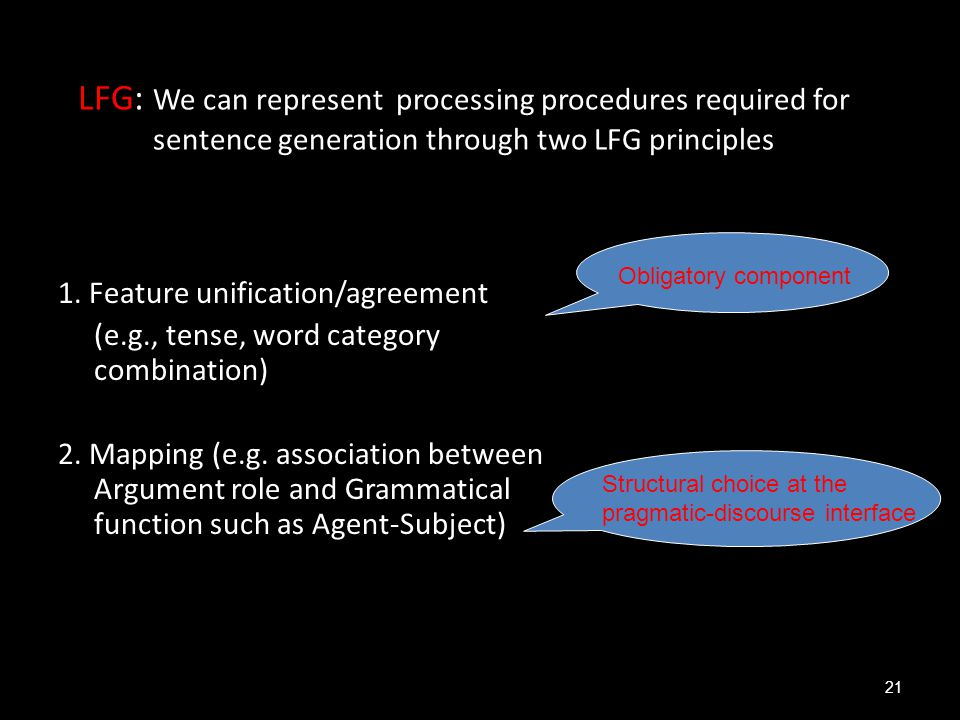 LFG: We can represent processing procedures required for sentence generation through two LFG principles