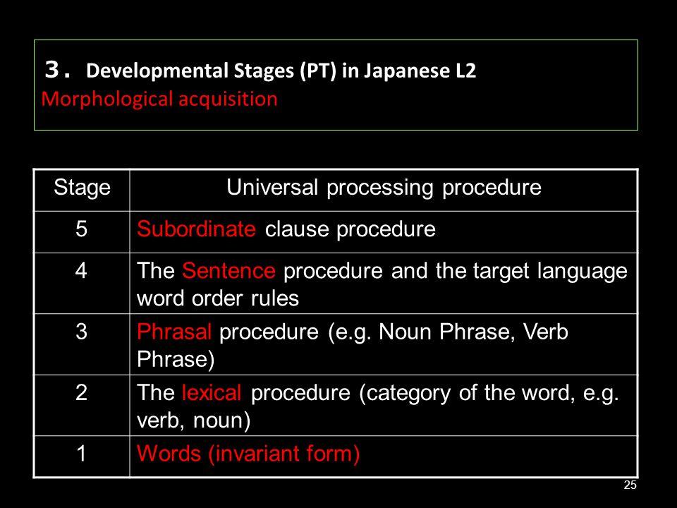 3.Developmental Stages (PT) in Japanese L2 Morphological acquisition