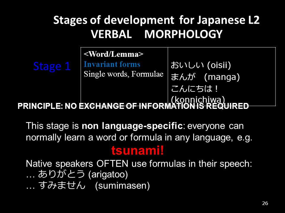 Stages of development for Japanese L2 VERBAL MORPHOLOGY