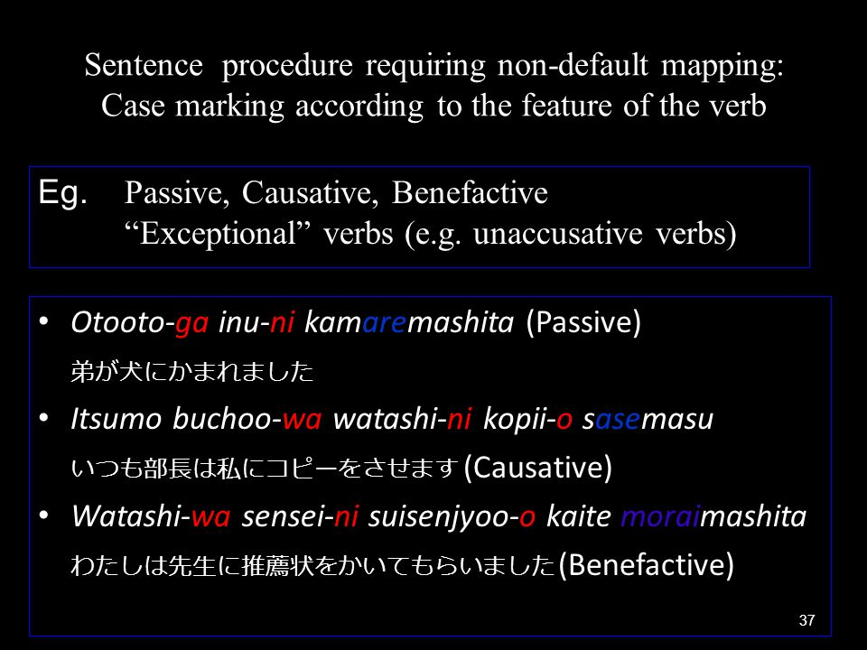 Sentence procedure requiring non-default mapping: Case marking according to the feature of the verb