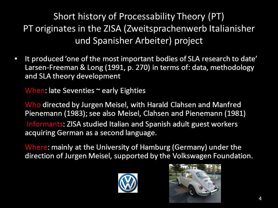 Short history of Processability Theory (PT) PT originates in the ZISA (Zweitsprachenwerb Italianisher und Spanisher Arbeiter) project