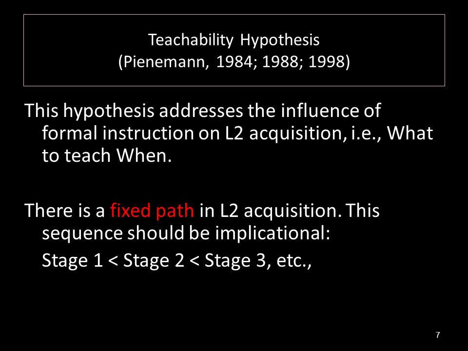 Teachability Hypothesis (Pienemann, 1984; 1988; 1998)