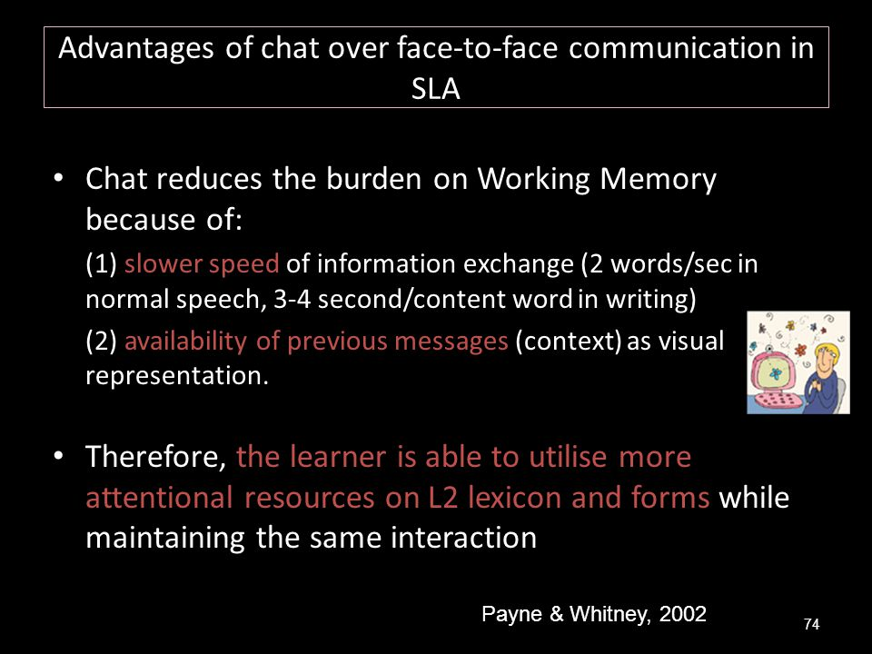 Advantages of chat over face-to-face communication in SLA