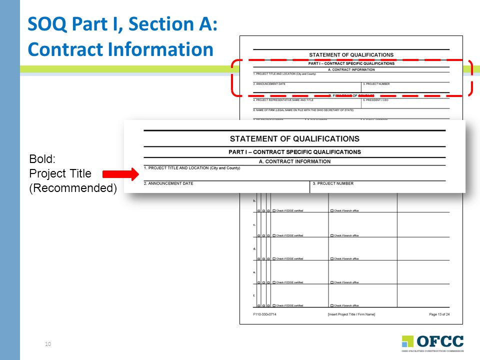 SOQ Part I, Section A: Contract Information Bold: Project Title