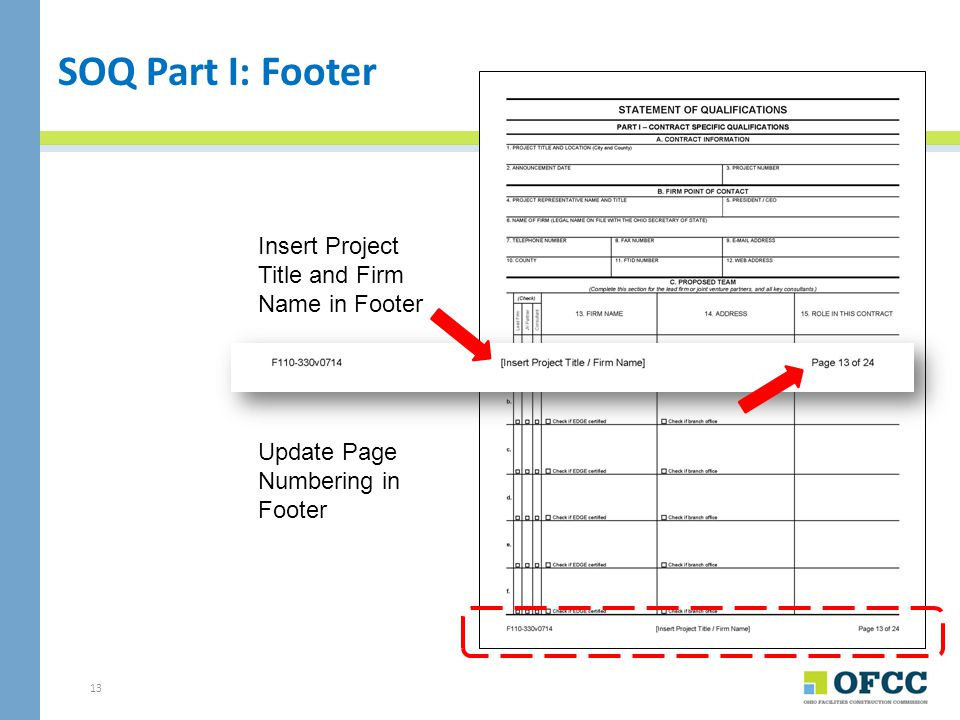SOQ Part I: Footer Insert Project Title and Firm Name in Footer