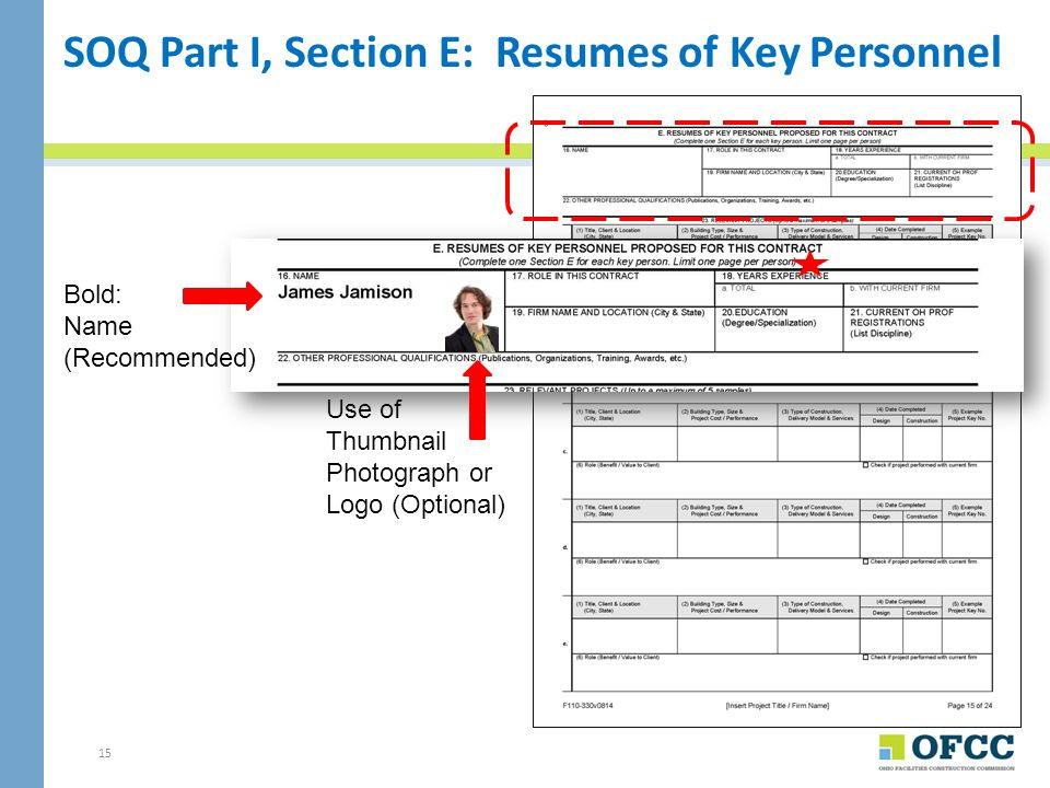 SOQ Part I, Section E: Resumes of Key Personnel