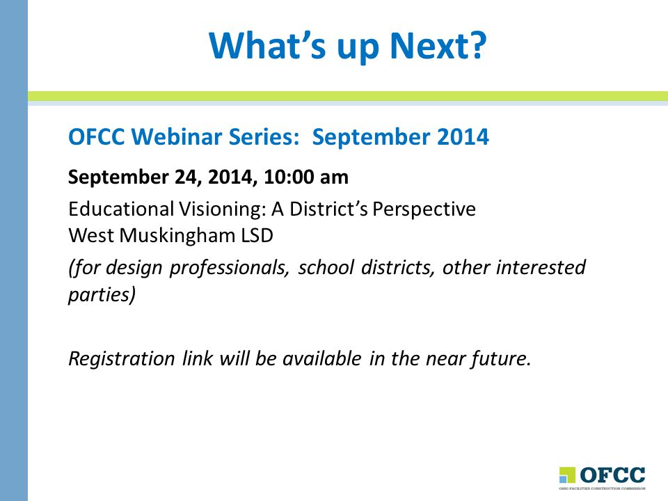 What's up Next OFCC Webinar Series: September 2014
