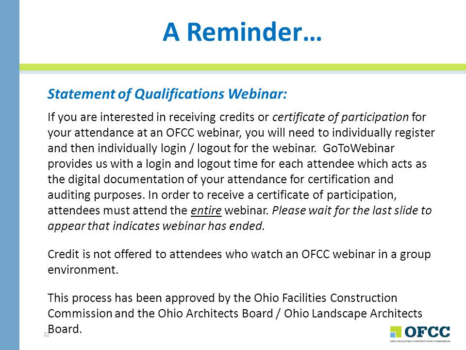A Reminder… Statement of Qualifications Webinar: