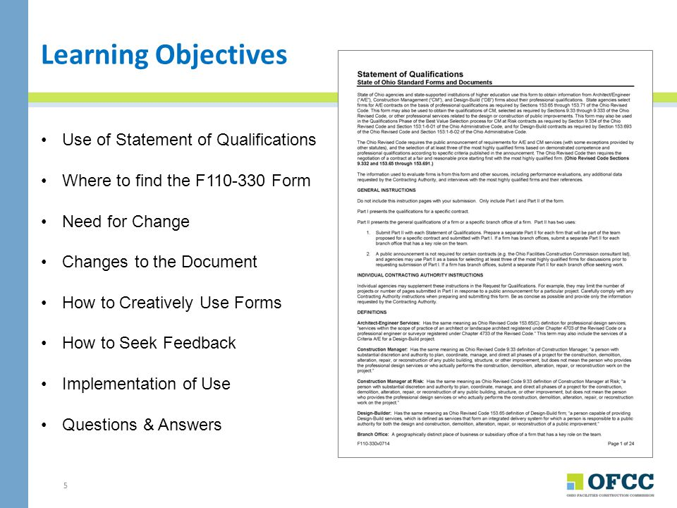 Learning Objectives Use of Statement of Qualifications