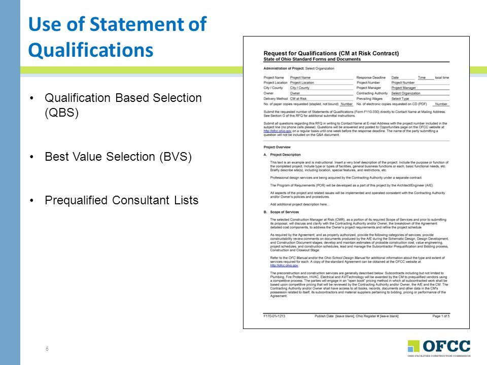 Use of Statement of Qualifications
