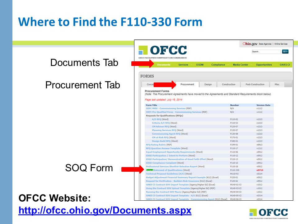Where to Find the F110-330 Form