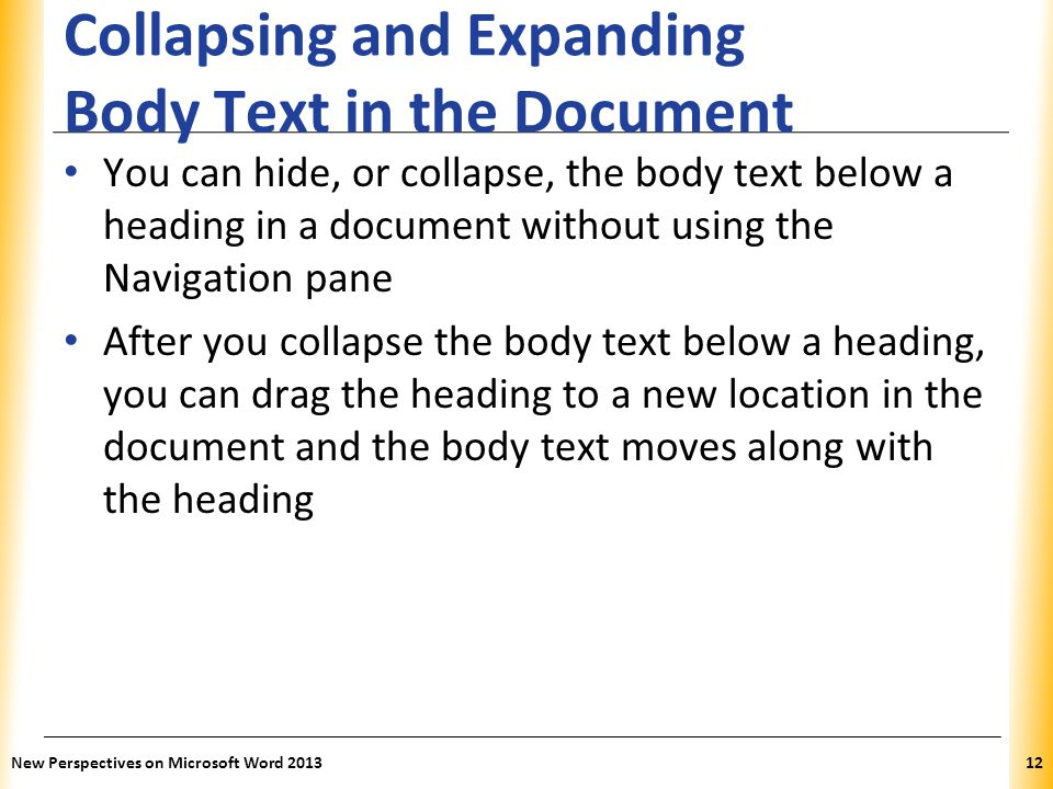Collapsing and Expanding Body Text in the Document