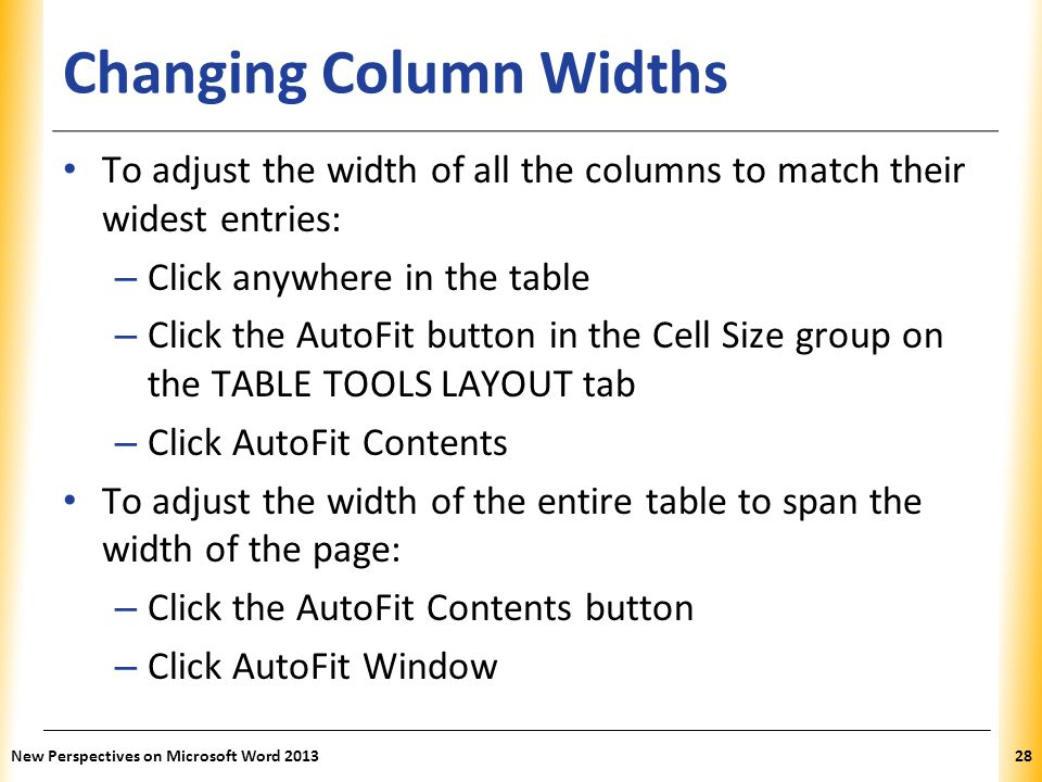 Changing Column Widths