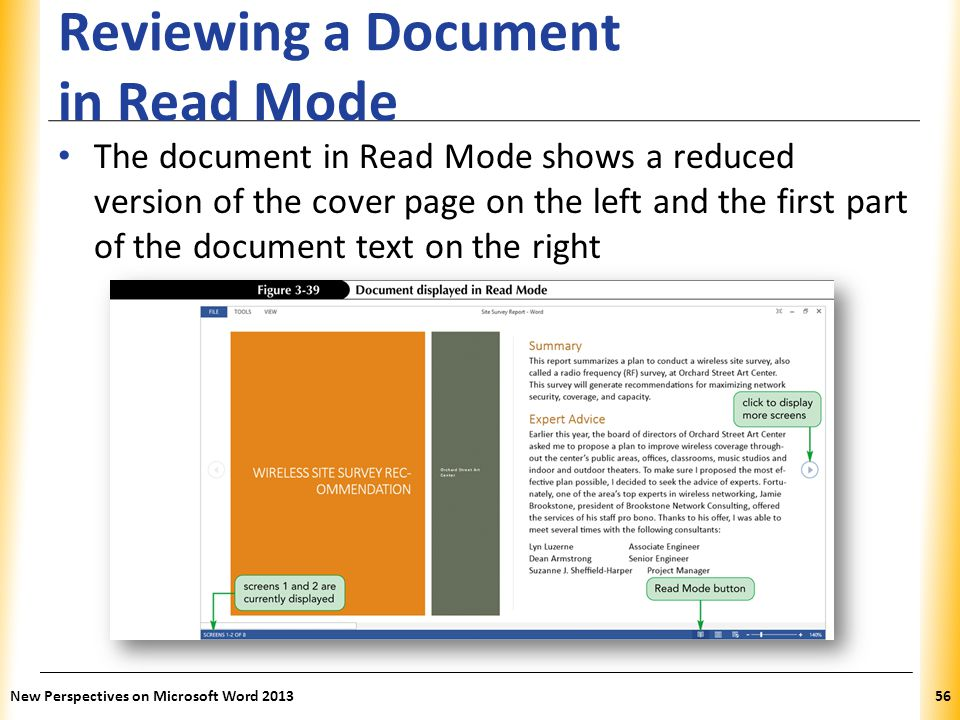 Reviewing a Document in Read Mode