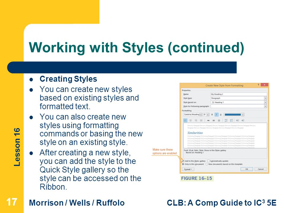Working with Styles (continued)