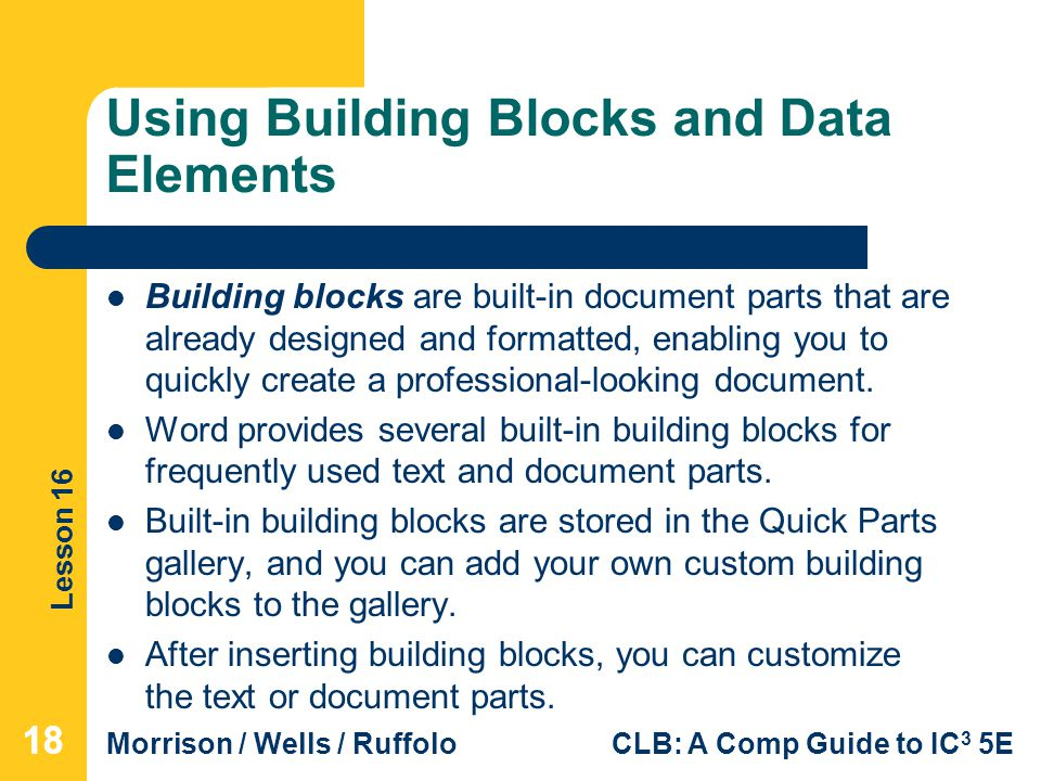 Using Building Blocks and Data Elements
