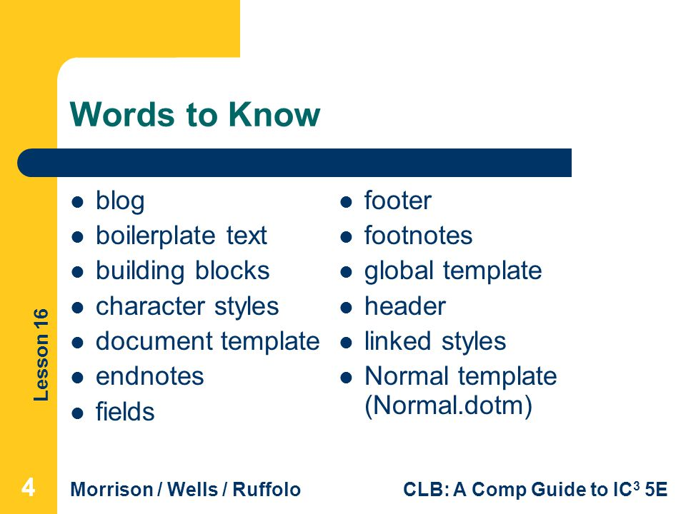 Words to Know blog boilerplate text building blocks character styles