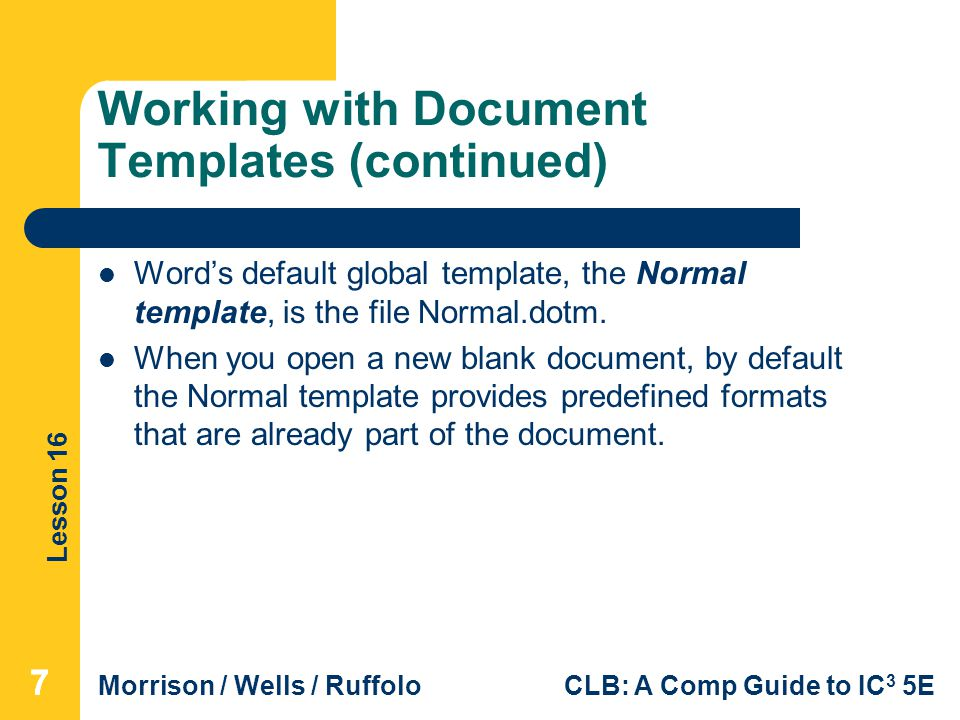 Working with Document Templates (continued)
