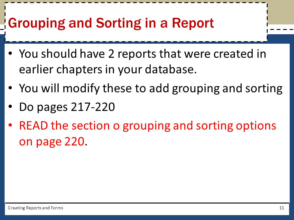 Grouping and Sorting in a Report