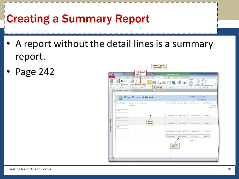 Creating a Summary Report