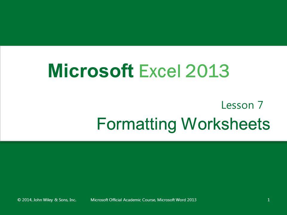 Formatting Worksheets
