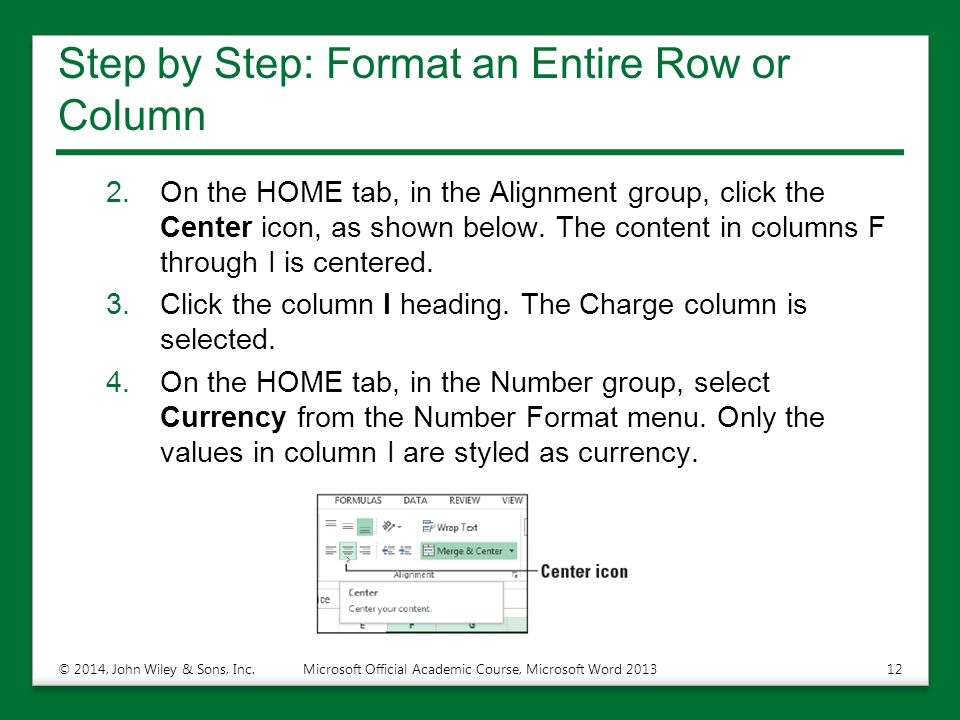 Step by Step: Format an Entire Row or Column