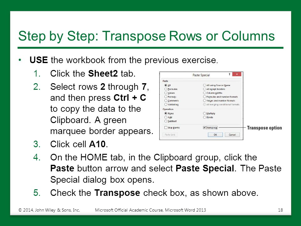 Step by Step: Transpose Rows or Columns