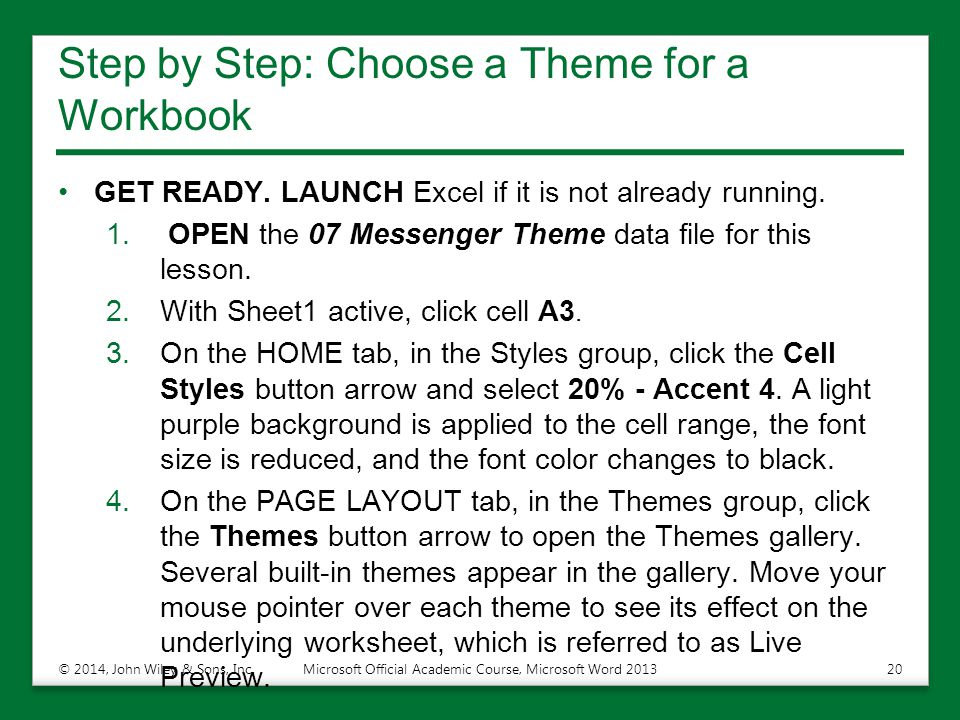 Step by Step: Choose a Theme for a Workbook