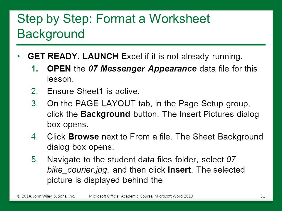Step by Step: Format a Worksheet Background