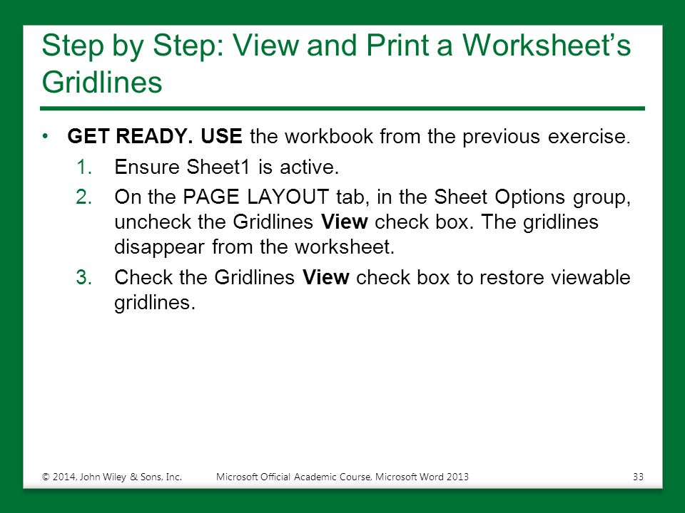Step by Step: View and Print a Worksheet's Gridlines