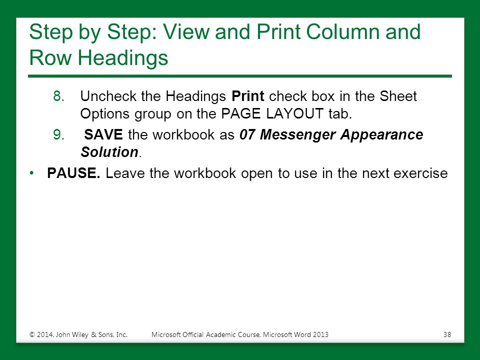Step by Step: View and Print Column and Row Headings
