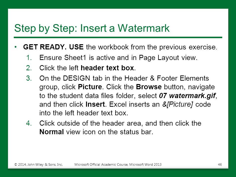 Step by Step: Insert a Watermark