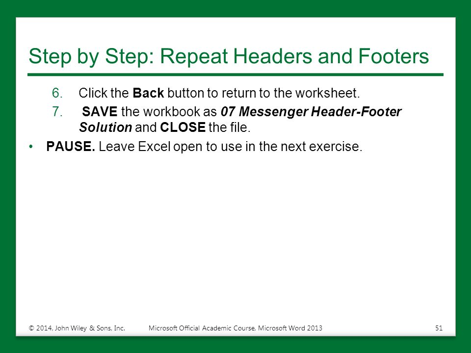 Step by Step: Repeat Headers and Footers