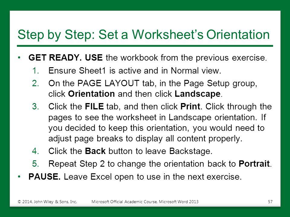 Step by Step: Set a Worksheet's Orientation