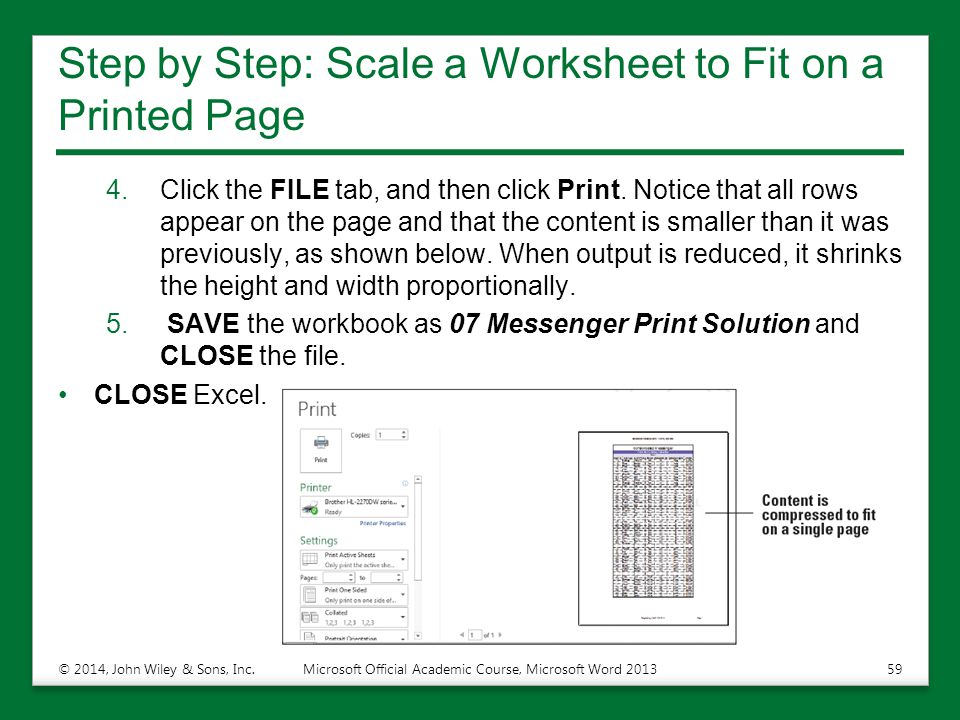 Step by Step: Scale a Worksheet to Fit on a Printed Page