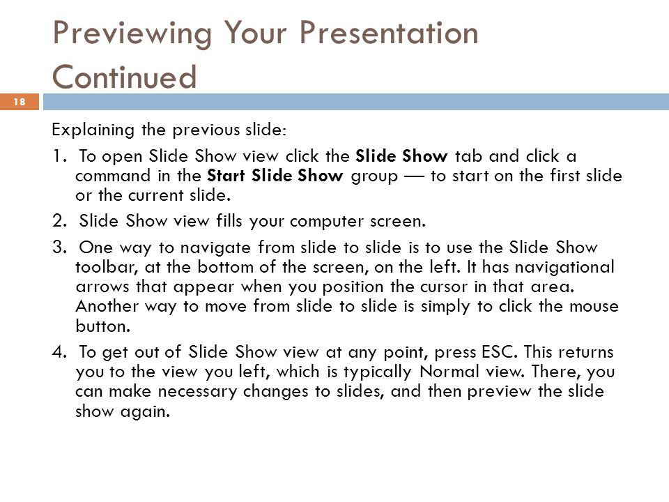 Previewing Your Presentation Continued