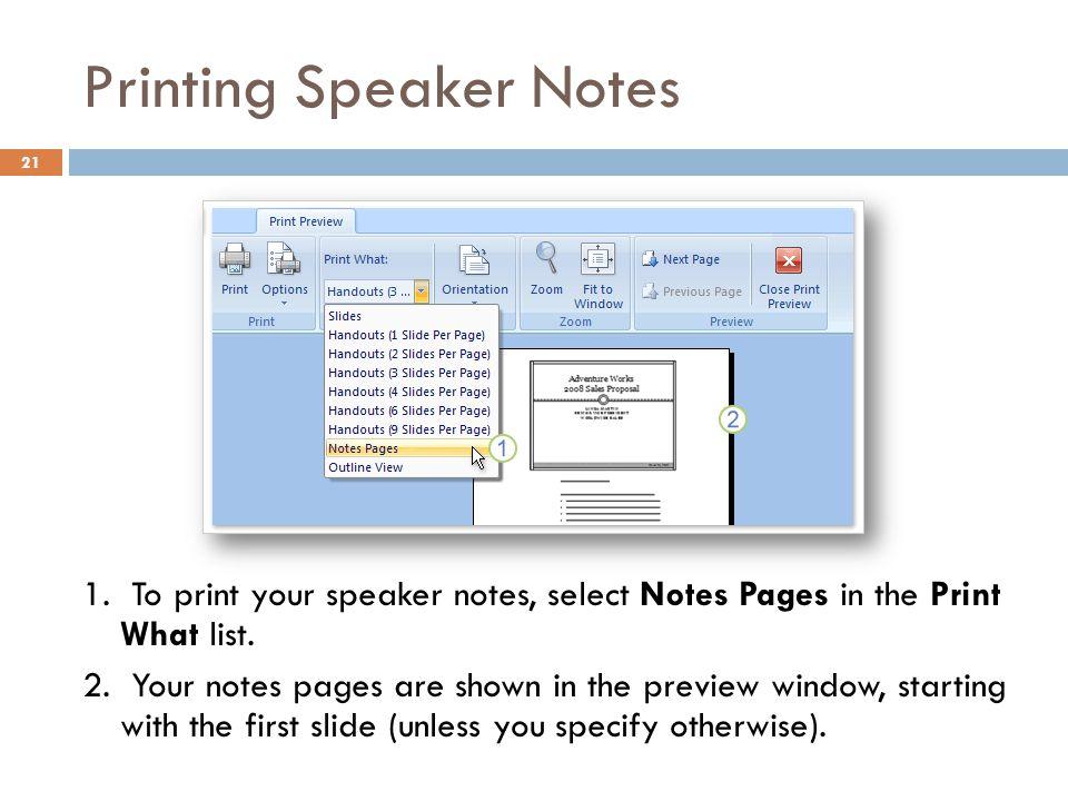Printing Speaker Notes