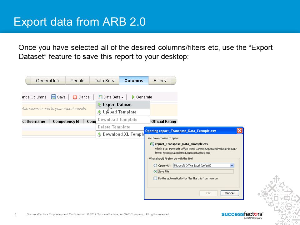 Export data from ARB 2.0