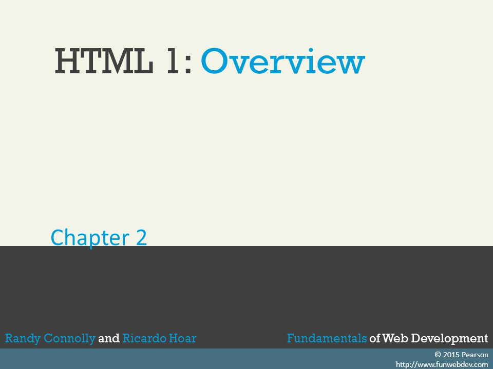 HTML 1: Overview Chapter 2