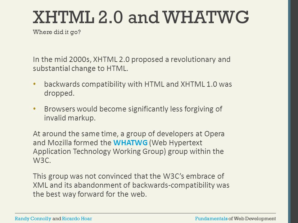 XHTML 2.0 and WHATWG Where did it go In the mid 2000s, XHTML 2.0 proposed a revolutionary and substantial change to HTML.