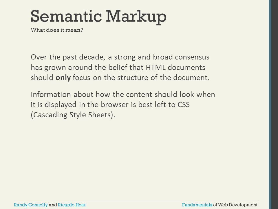 Semantic Markup What does it mean