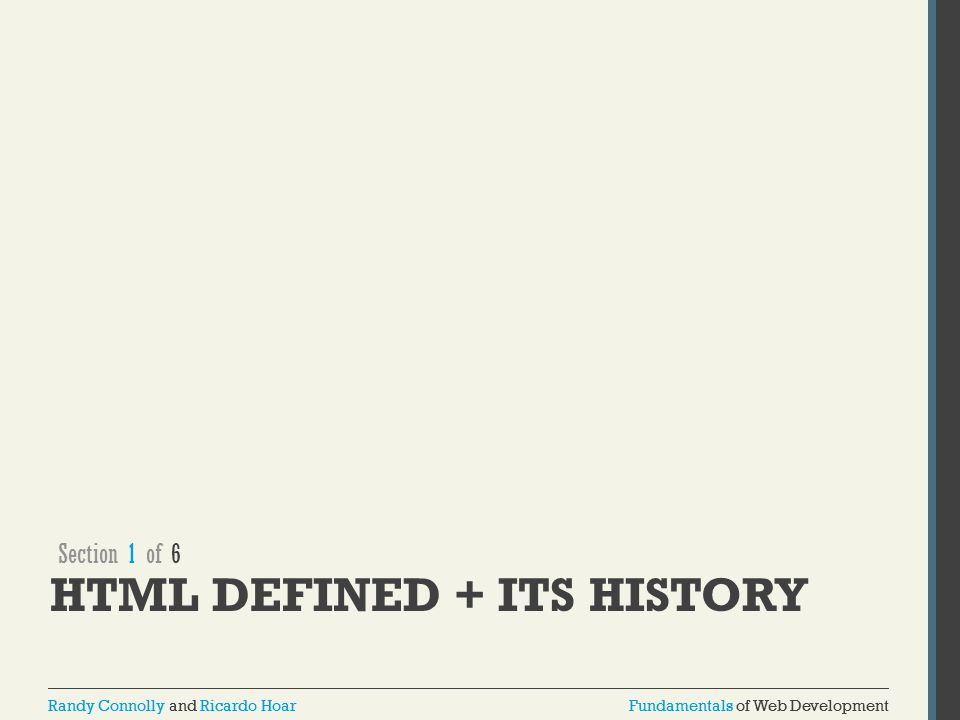 HTML defined + its history