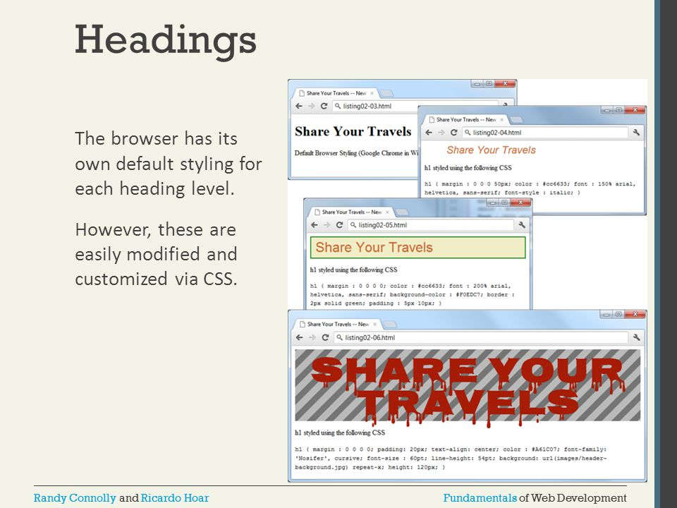 Headings The browser has its own default styling for each heading level.