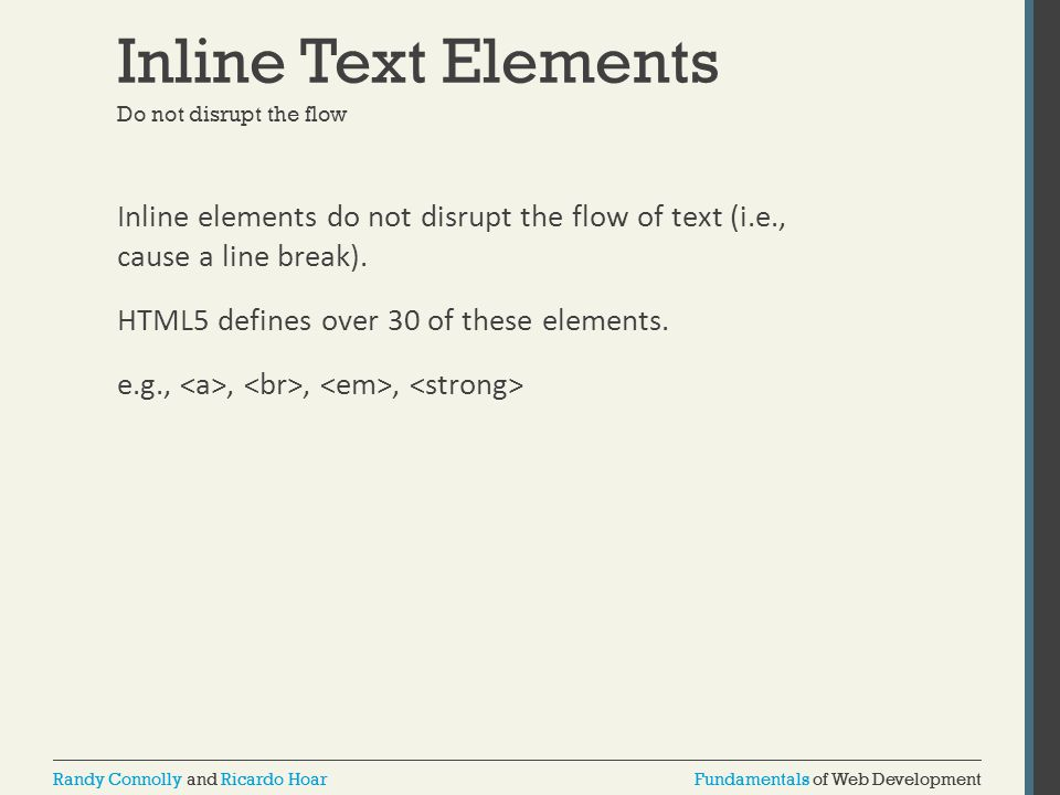 Inline Text Elements Do not disrupt the flow.