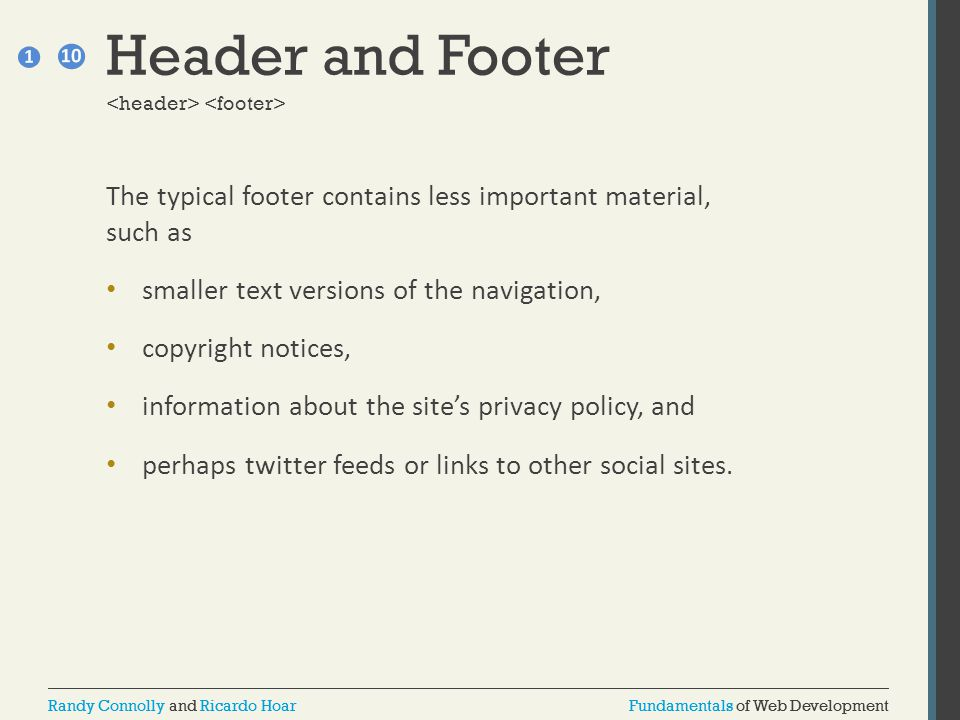 Header and Footer <header> <footer> The typical footer contains less important material, such as.