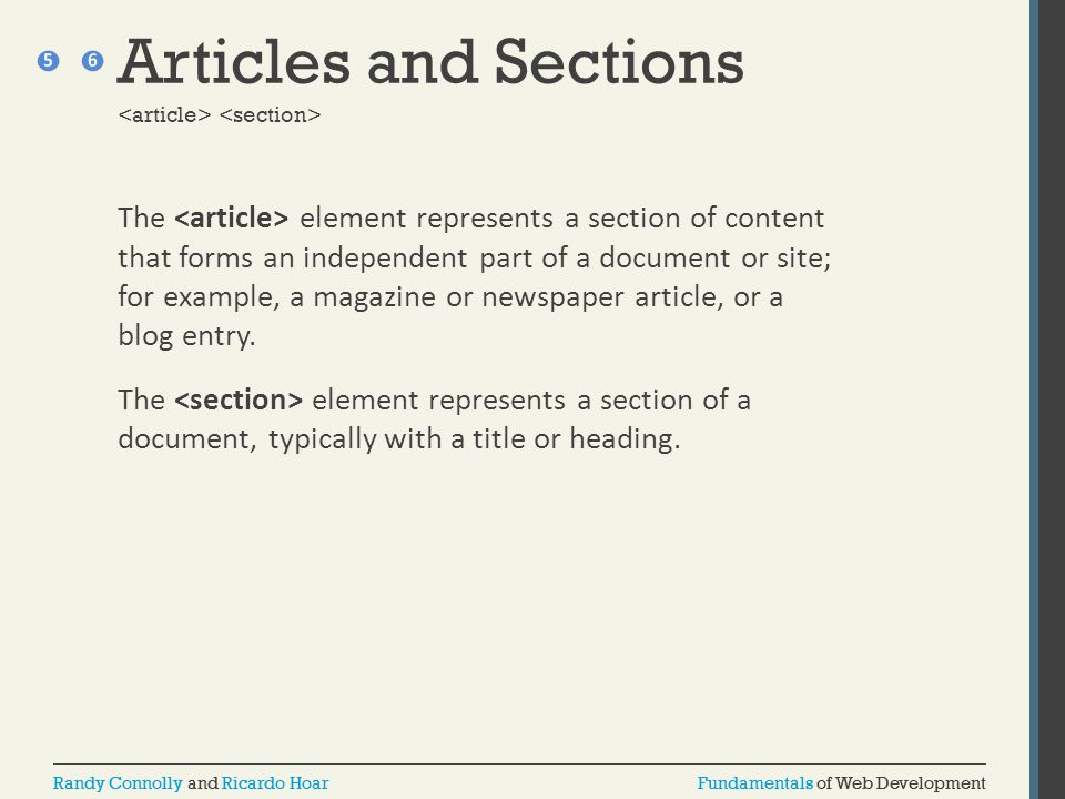 Articles and Sections <article> <section>