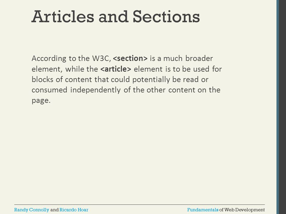 Articles and Sections