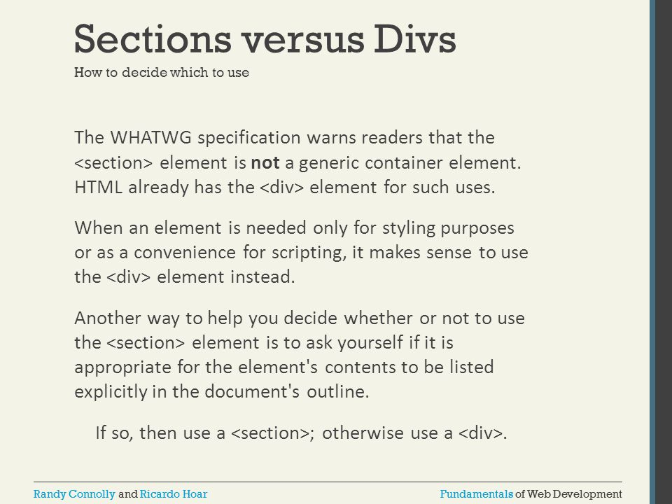Sections versus Divs How to decide which to use.