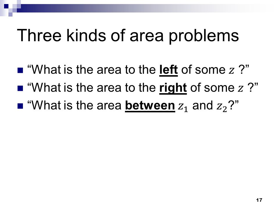 Three kinds of area problems