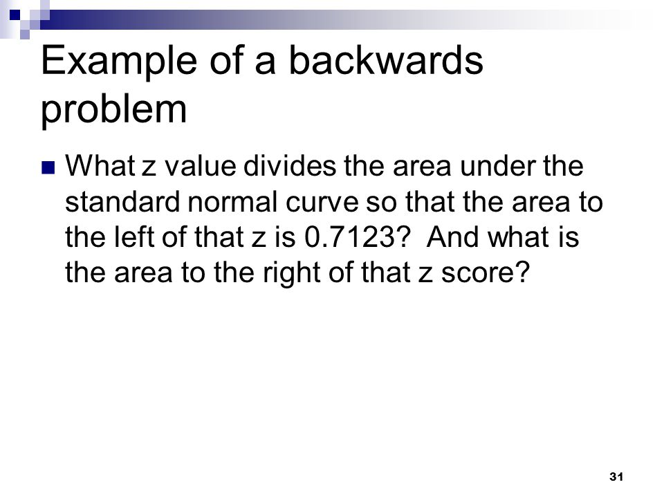 Example of a backwards problem